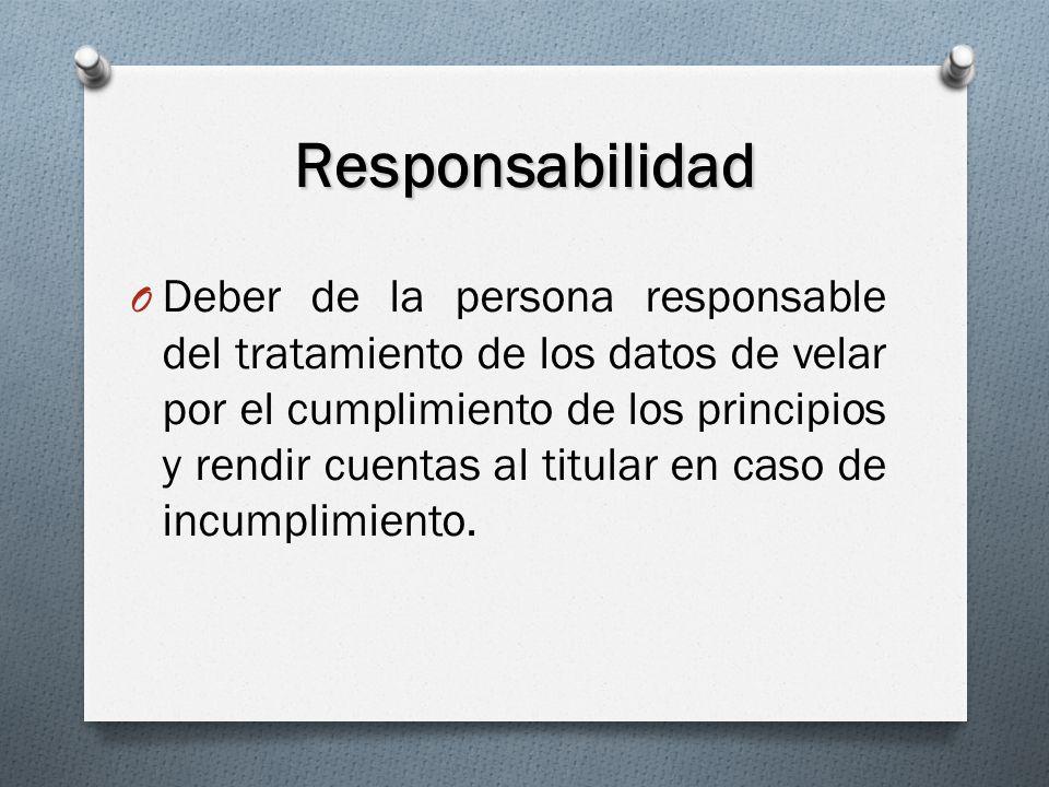 Responsabilidad O Deber de la persona responsable del tratamiento de los datos de velar por el cumplimiento de los principios y rendir cuentas al titular en caso de incumplimiento.