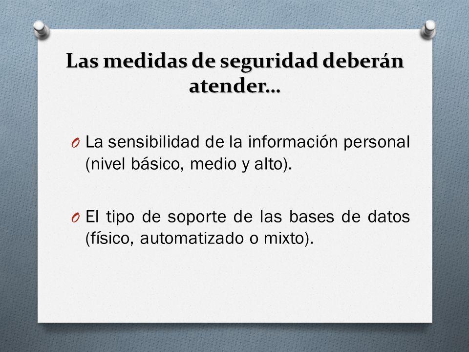 Las medidas de seguridad deberán atender… O La sensibilidad de la información personal (nivel básico, medio y alto).
