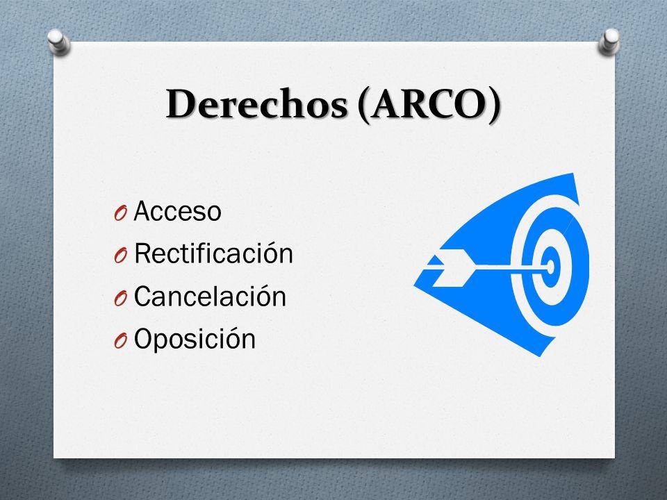 Derechos (ARCO) O Acceso O Rectificación O Cancelación O Oposición