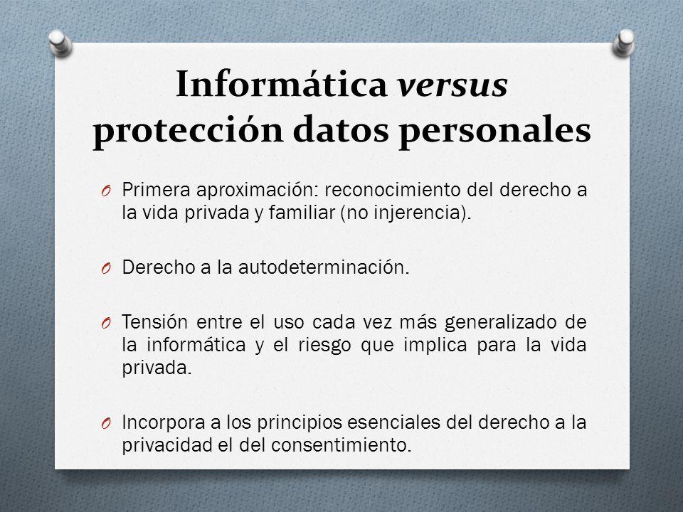 Informática versus protección datos personales O Primera aproximación: reconocimiento del derecho a la vida privada y familiar (no injerencia).