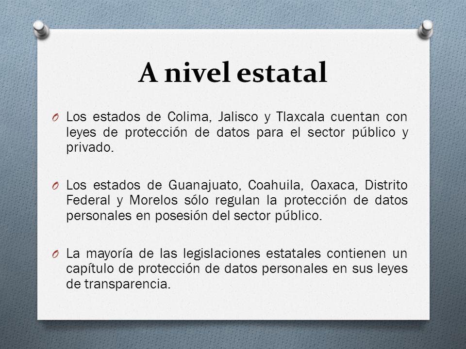 A nivel estatal O Los estados de Colima, Jalisco y Tlaxcala cuentan con leyes de protección de datos para el sector público y privado.
