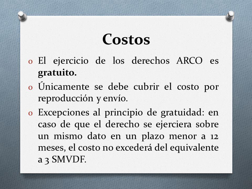 Costos o El ejercicio de los derechos ARCO es gratuito.