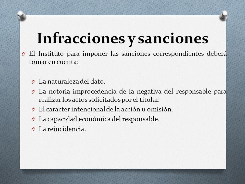 Infracciones y sanciones O El Instituto para imponer las sanciones correspondientes deberá tomar en cuenta: O La naturaleza del dato.