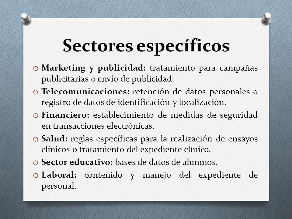 Sectores específicos o Marketing y publicidad: tratamiento para campañas publicitarias o envío de publicidad.