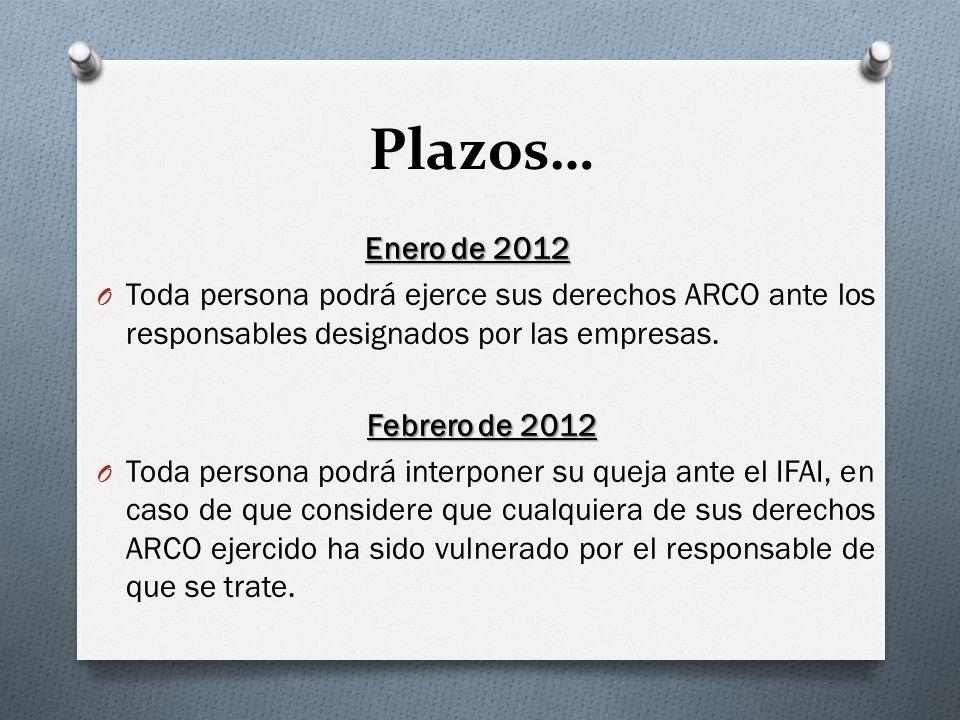 Plazos… Enero de 2012 O Toda persona podrá ejerce sus derechos ARCO ante los responsables designados por las empresas.
