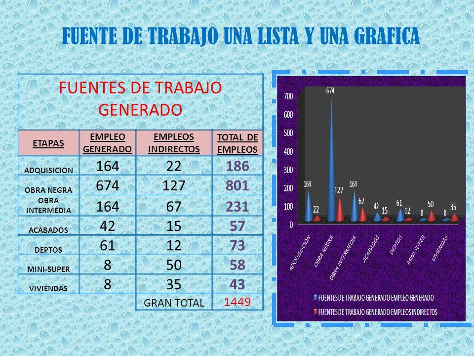 COSTOS DEL PROYECTO COMPRA DISEÑO CONSTRUCCION MANO DE OBRA TRABAJO GENERADO POR ETAPA DIRECTAMENTE INDIRECTAMENTE