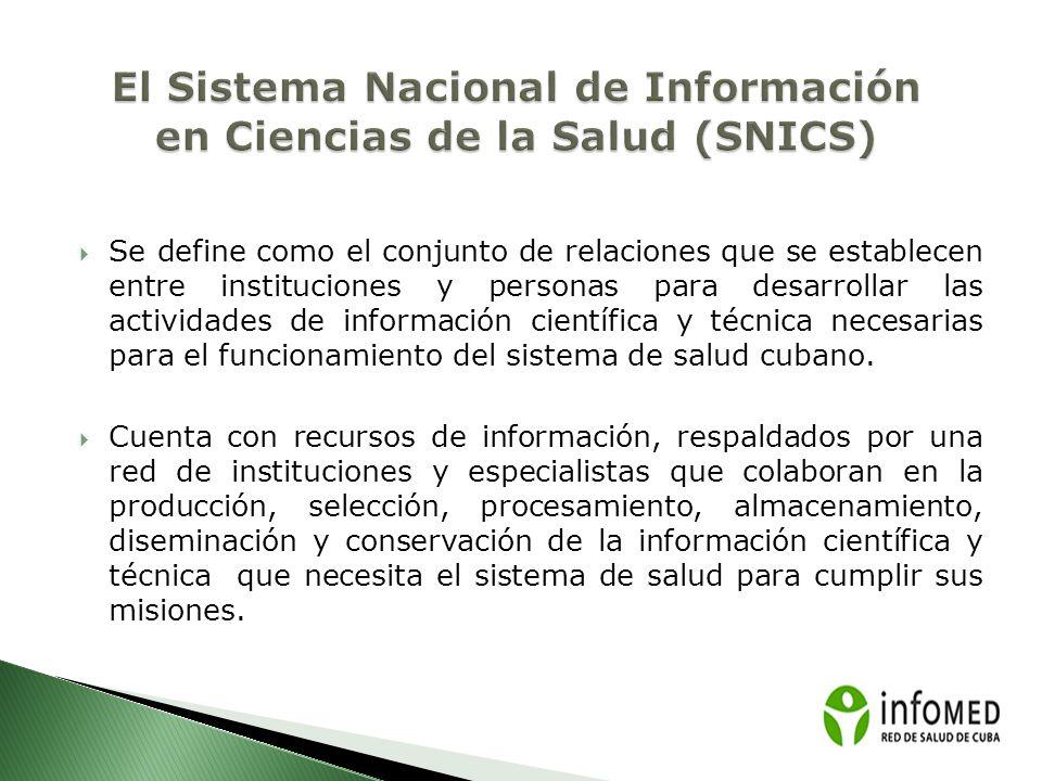 CNICM/INFOMED El Centro Nacional de Información de Ciencias Médicas (CNICM) es la institución nacional del Ministerio de Salud Pública que coordina y promueve el desarrollo de las actividades de información científica y técnica en el Sistema Nacional de Salud.