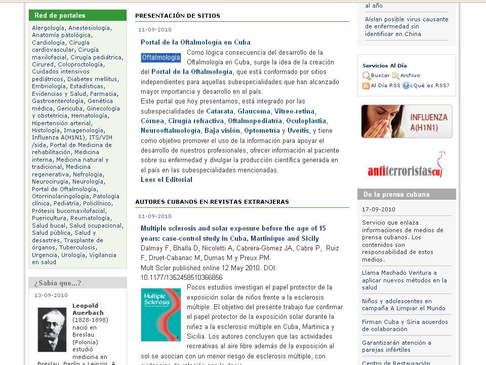 Centro Nacional de Información de Ciencias Médicas Unidades de información de Subordinación nacional (53) Bibliotecas de Facultades (9) Bibliotecas Especializadas (Institutos y Centros Nacionales) (35) Biblioteca Médica Nacional (1) Centros Provinciales de Información de Ciencias Médicas (16) Bibliotecas de Referencia (153) Bibliotecas Universitarias de Policlínicos (470) Otras Bibliotecas (54) Bibliotecas Universitarias de Hospitales Provinciales (172) Bibliotecas de Centros de Educación Médica Superior (61)