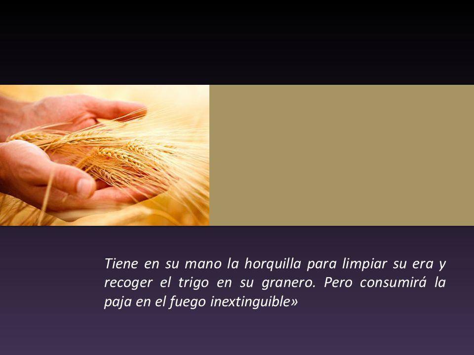 Tiene en su mano la horquilla para limpiar su era y recoger el trigo en su granero. Pero consumirá la paja en el fuego inextinguible»