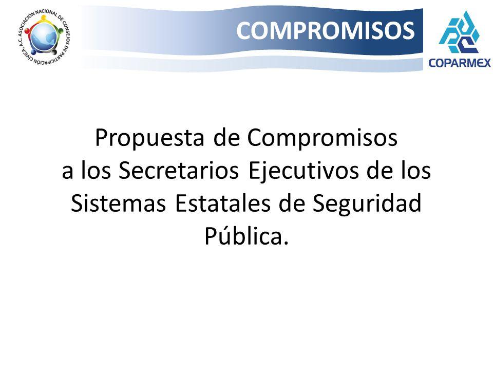 Propuesta de Compromisos a los Secretarios Ejecutivos de los Sistemas Estatales de Seguridad Pública. COMPROMISOS