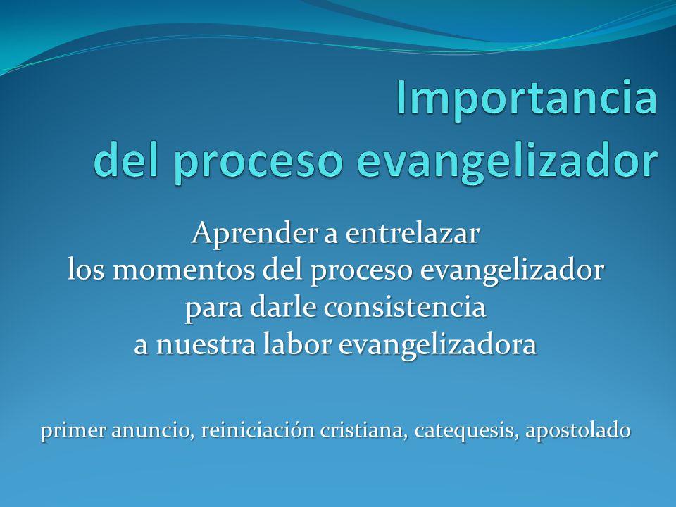 Aprender a entrelazar los momentos del proceso evangelizador para darle consistencia a nuestra labor evangelizadora primer anuncio, reiniciación crist