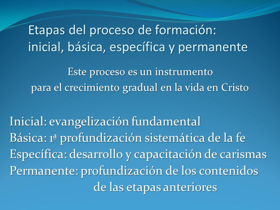 Etapas del proceso de formación: inicial, básica, específica y permanente Este proceso es un instrumento para el crecimiento gradual en la vida en Cri