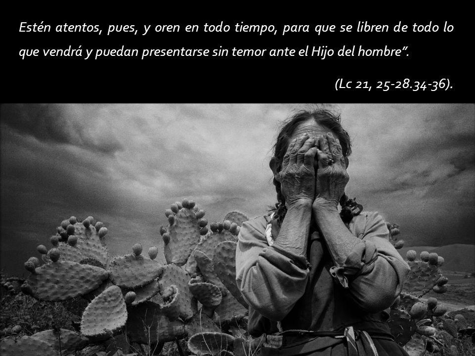 Estén atentos, pues, y oren en todo tiempo, para que se libren de todo lo que vendrá y puedan presentarse sin temor ante el Hijo del hombre. (Lc 21, 2