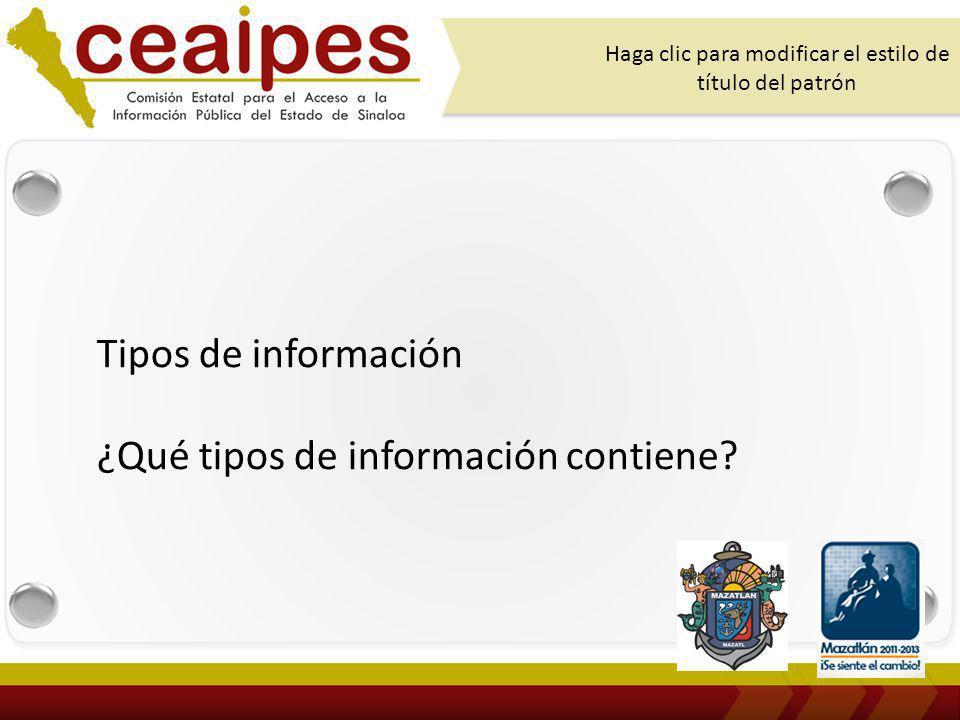 Tipos de información ¿Qué tipos de información contiene