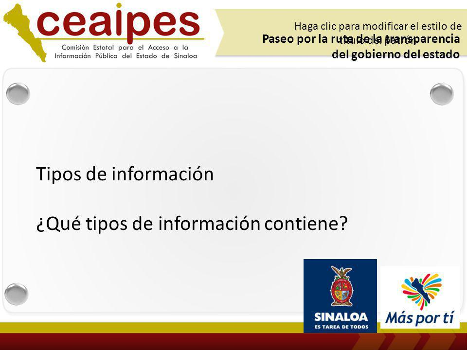 Tipos de información ¿Qué tipos de información contiene.