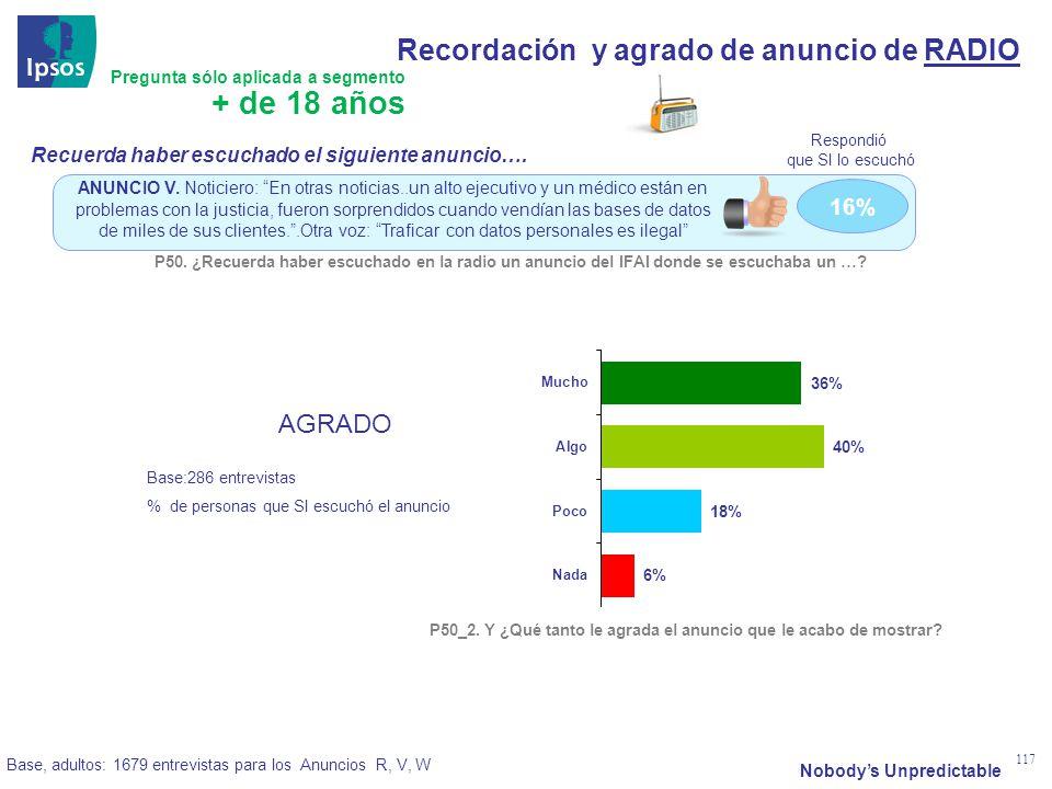 Nobodys Unpredictable 117 16% ANUNCIO V.