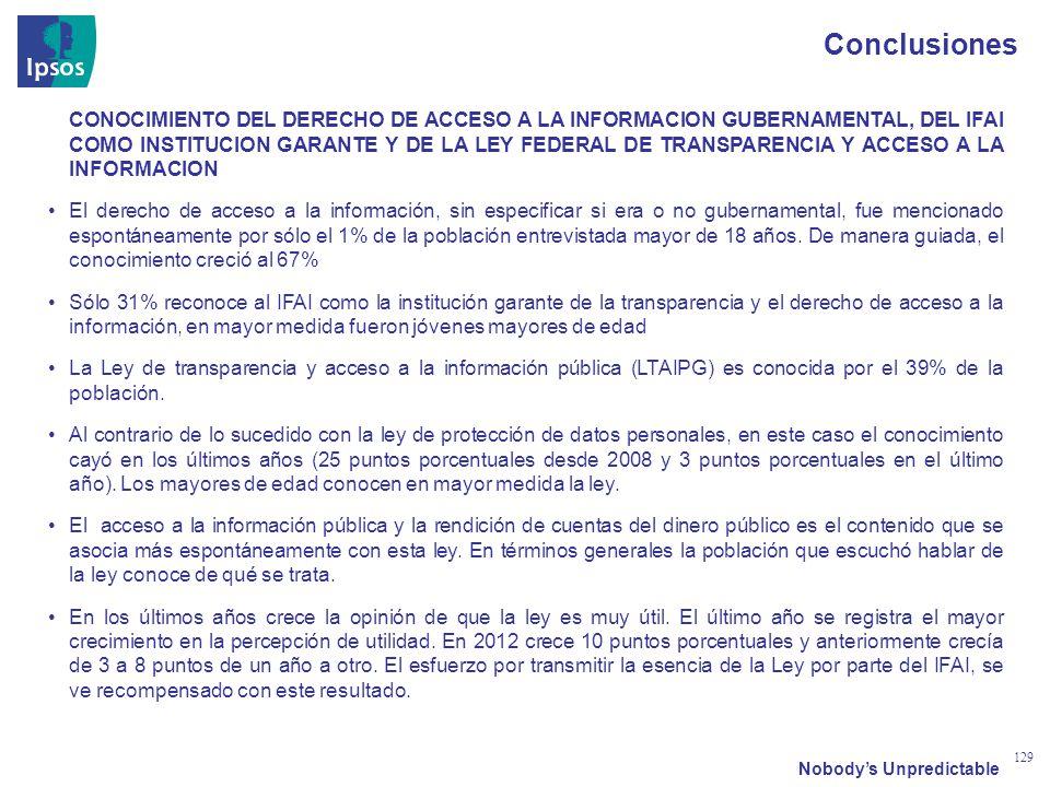 Nobodys Unpredictable 129 Conclusiones CONOCIMIENTO DEL DERECHO DE ACCESO A LA INFORMACION GUBERNAMENTAL, DEL IFAI COMO INSTITUCION GARANTE Y DE LA LEY FEDERAL DE TRANSPARENCIA Y ACCESO A LA INFORMACION El derecho de acceso a la información, sin especificar si era o no gubernamental, fue mencionado espontáneamente por sólo el 1% de la población entrevistada mayor de 18 años.