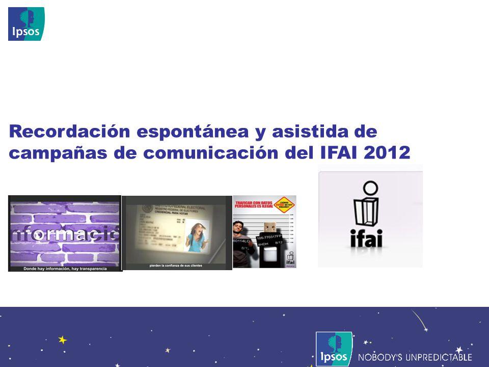 Nobodys Unpredictable 97 Recordación espontánea y asistida de campañas de comunicación del IFAI 2012