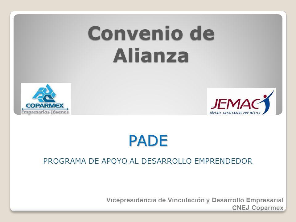 Convenio de Alianza PROGRAMA DE APOYO AL DESARROLLO EMPRENDEDOR PADE Vicepresidencia de Vinculación y Desarrollo Empresarial CNEJ Coparmex