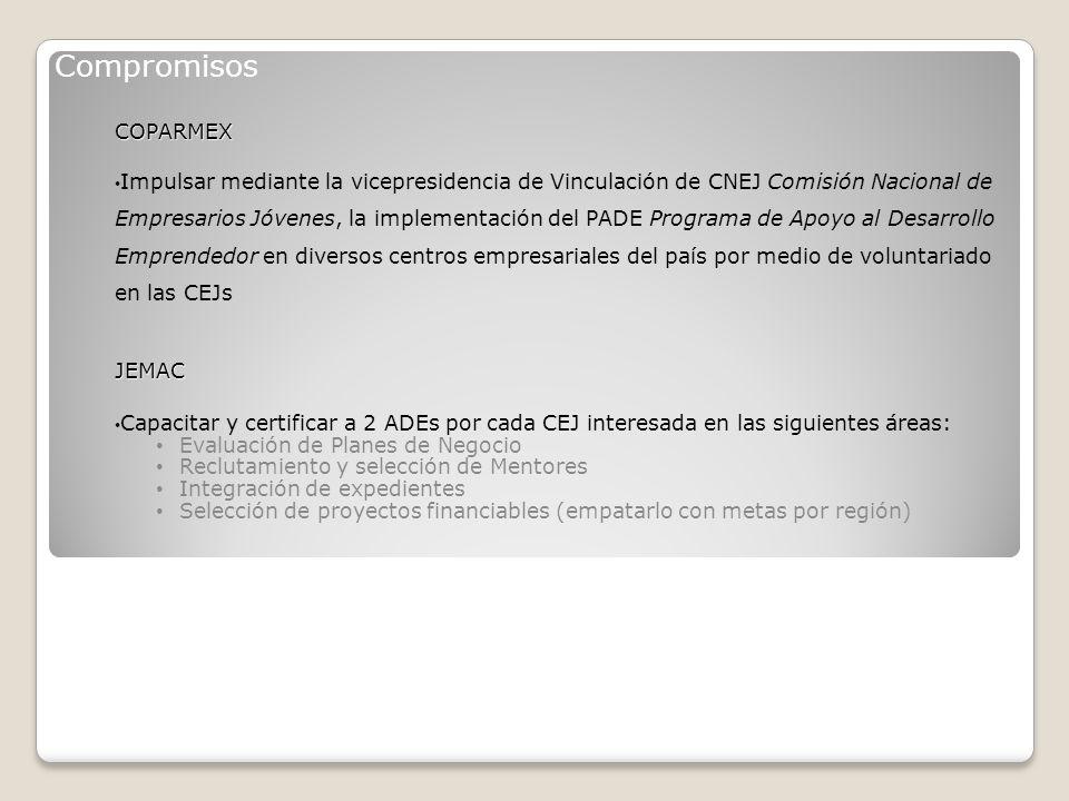 Proceso de establecimiento para el PADE 1.Autorización de la Dirección de General de Coparmex 2.
