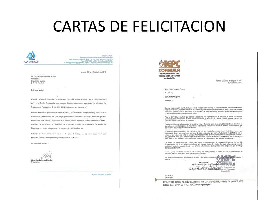 CARTAS DE FELICITACION