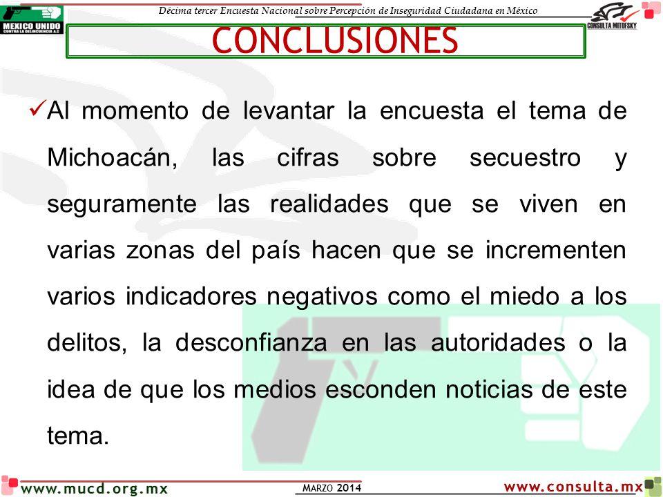 Décima tercer Encuesta Nacional sobre Percepción de Inseguridad Ciudadana en México M ARZO 2014 www.mucd.org.mx Al momento de levantar la encuesta el
