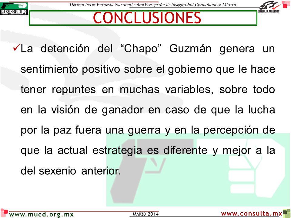 Décima tercer Encuesta Nacional sobre Percepción de Inseguridad Ciudadana en México M ARZO 2014 www.mucd.org.mx La detención del Chapo Guzmán genera u