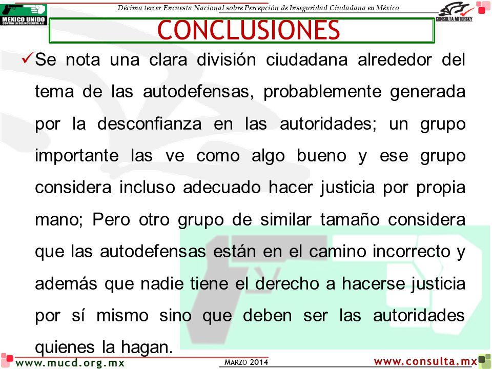 Décima tercer Encuesta Nacional sobre Percepción de Inseguridad Ciudadana en México M ARZO 2014 www.mucd.org.mx Se nota una clara división ciudadana a