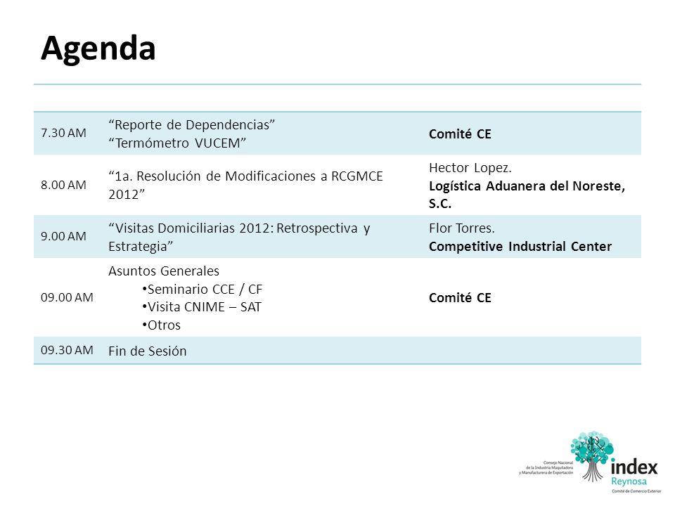 Agenda 7.30 AM Reporte de Dependencias Termómetro VUCEM Comité CE 8.00 AM 1a. Resolución de Modificaciones a RCGMCE 2012 Hector Lopez. Logística Aduan
