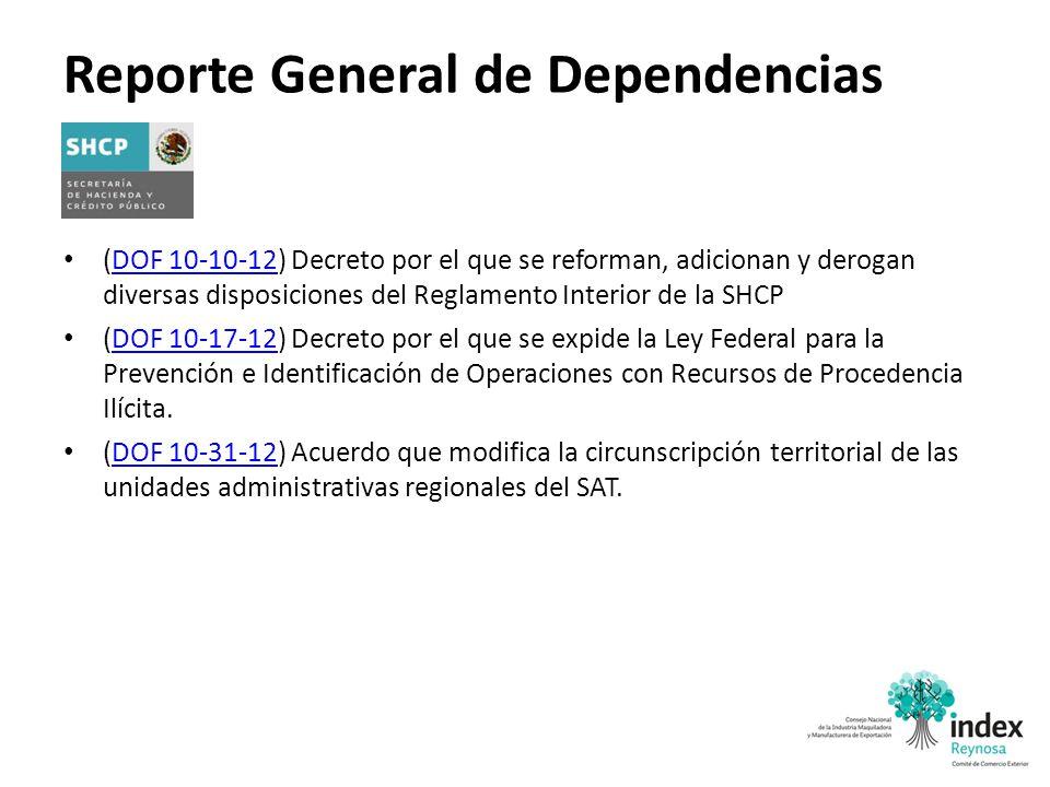 Reporte General de Dependencias (DOF 10-10-12) Decreto por el que se reforman, adicionan y derogan diversas disposiciones del Reglamento Interior de l