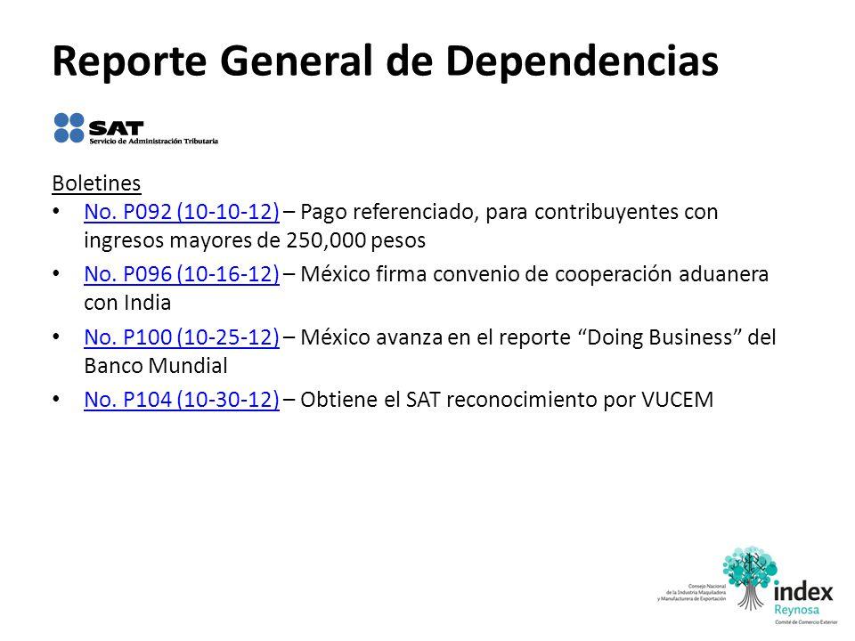 Reporte General de Dependencias Boletines No. P092 (10-10-12) – Pago referenciado, para contribuyentes con ingresos mayores de 250,000 pesos No. P092