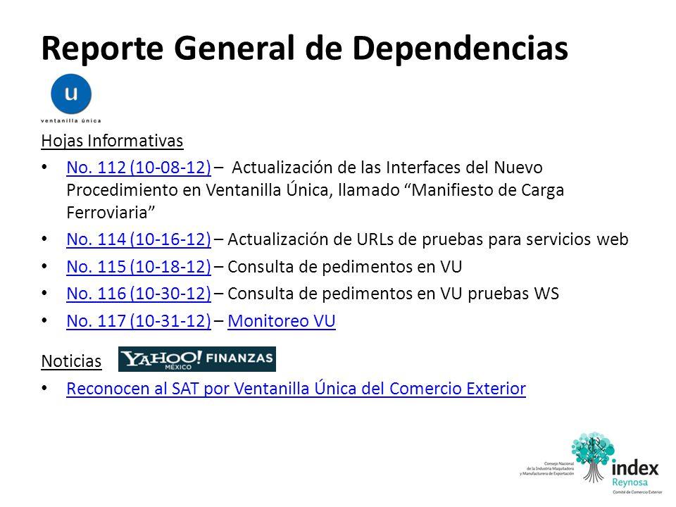 Reporte General de Dependencias Hojas Informativas No. 112 (10-08-12) – Actualización de las Interfaces del Nuevo Procedimiento en Ventanilla Única, l