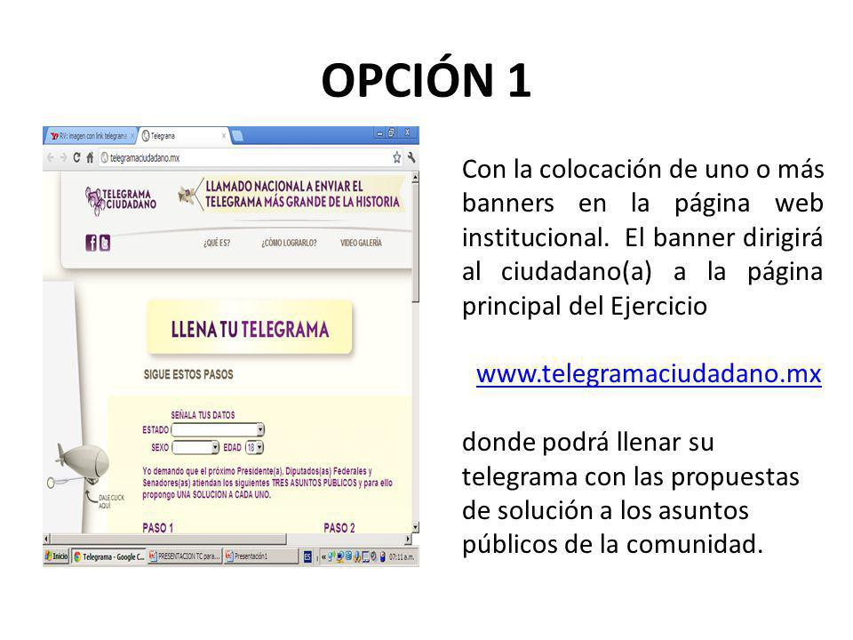 OPCIÓN 1 Con la colocación de uno o más banners en la página web institucional.