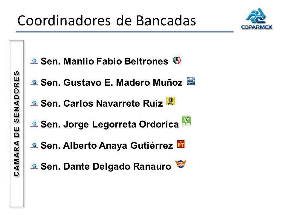 Coordinadores de Bancadas Sen. Manlio Fabio Beltrones Sen. Gustavo E. Madero Muñoz Sen. Carlos Navarrete Ruiz Sen. Jorge Legorreta Ordoríca Sen. Alber