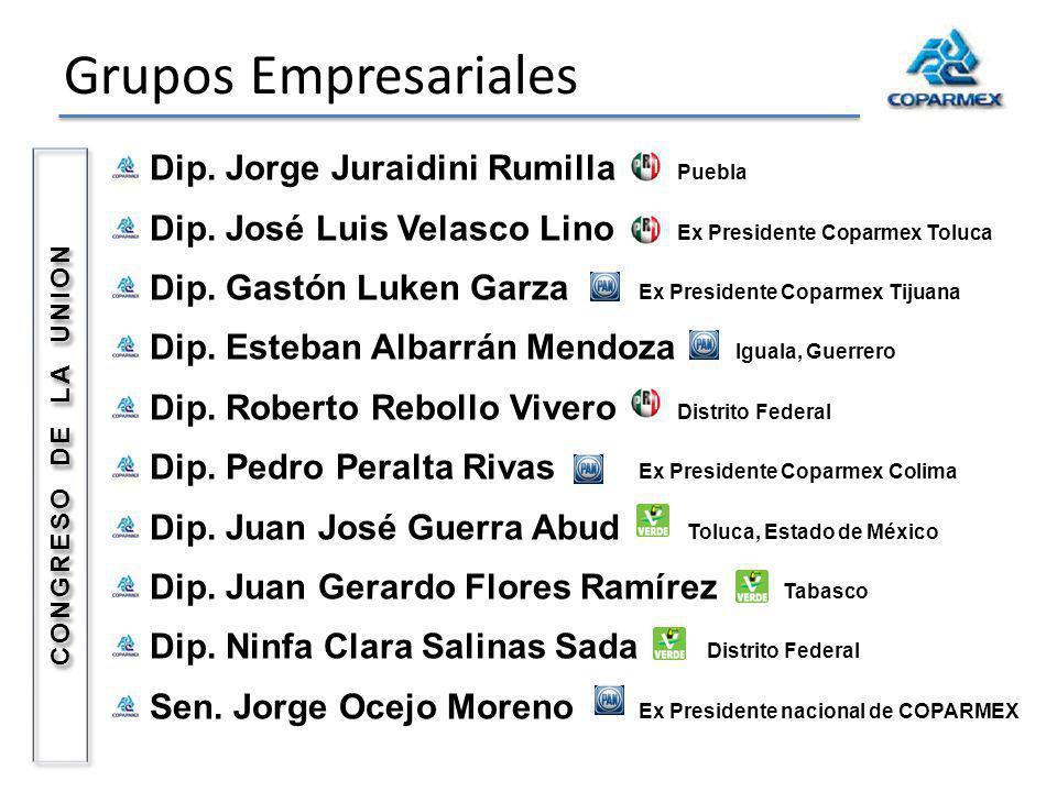 Grupos Empresariales Dip. Jorge Juraidini Rumilla Puebla Dip. José Luis Velasco Lino Ex Presidente Coparmex Toluca Dip. Gastón Luken Garza Ex Presiden