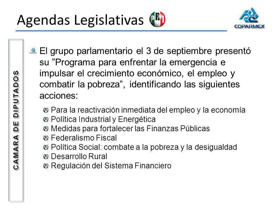 Agendas Legislativas CAMARA DE DIPUTADOS El grupo parlamentario el 3 de septiembre presentó su Programa para enfrentar la emergencia e impulsar el cre