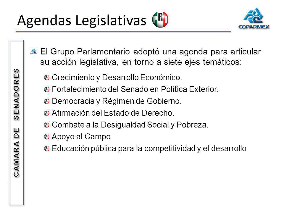 Agendas Legislativas El Grupo Parlamentario adoptó una agenda para articular su acción legislativa, en torno a siete ejes temáticos: Crecimiento y Des