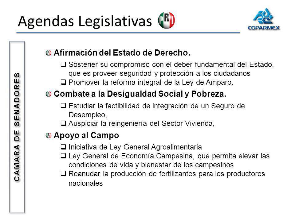 Agendas Legislativas Afirmación del Estado de Derecho. Sostener su compromiso con el deber fundamental del Estado, que es proveer seguridad y protecci