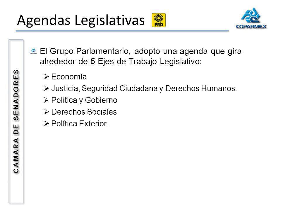 Agendas Legislativas CAMARA DE SENADORES El Grupo Parlamentario, adoptó una agenda que gira alrededor de 5 Ejes de Trabajo Legislativo: Economía Justicia, Seguridad Ciudadana y Derechos Humanos.