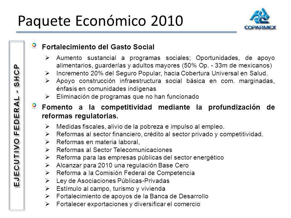 Paquete Económico 2010 Fortalecimiento del Gasto Social Aumento sustancial a programas sociales; Oportunidades, de apoyo alimentarios, guarderías y adultos mayores (50% Op.