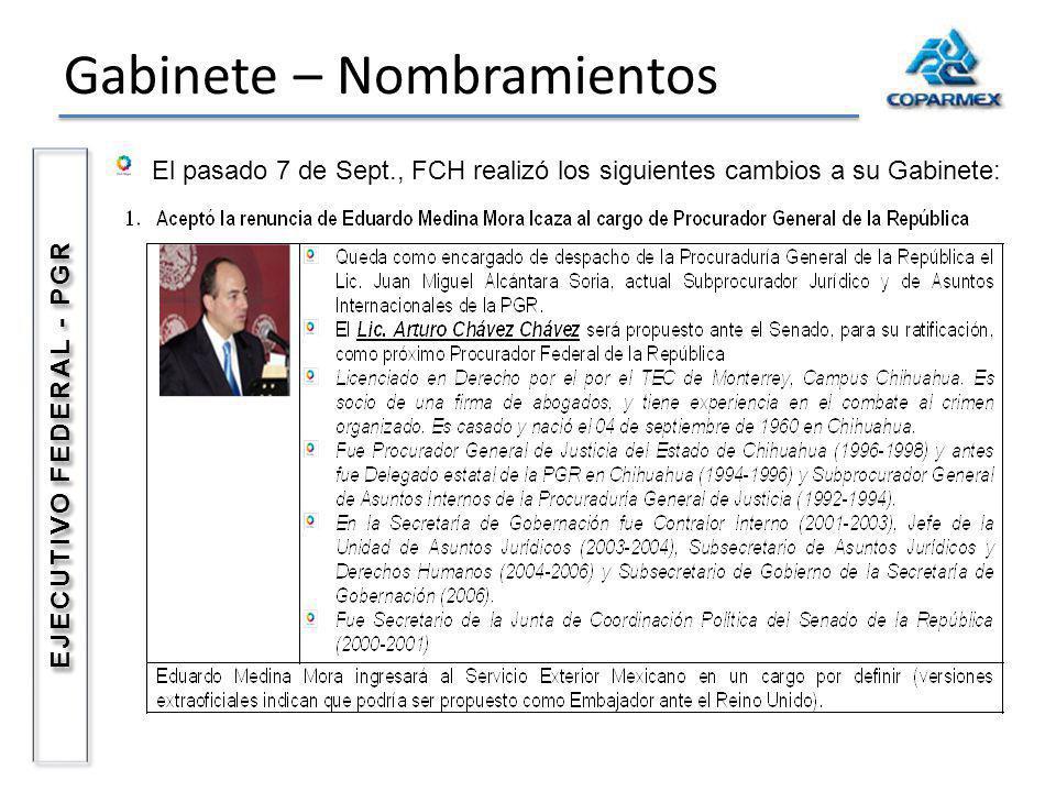 Gabinete – Nombramientos El pasado 7 de Sept., FCH realizó los siguientes cambios a su Gabinete: EJECUTIVO FEDERAL - PGR