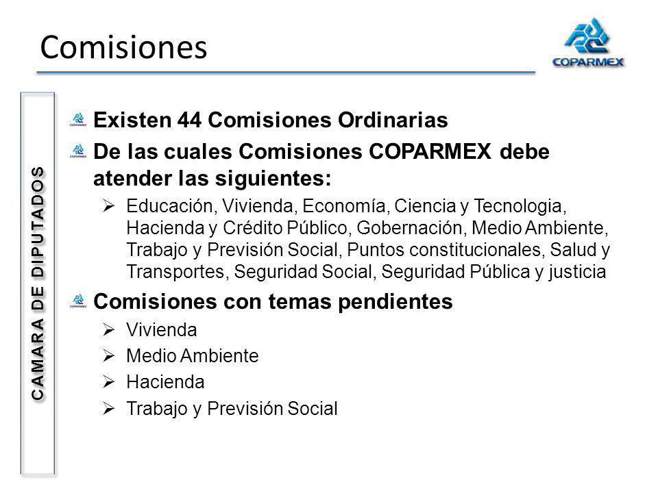 Comisiones Existen 44 Comisiones Ordinarias De las cuales Comisiones COPARMEX debe atender las siguientes: Educación, Vivienda, Economía, Ciencia y Te