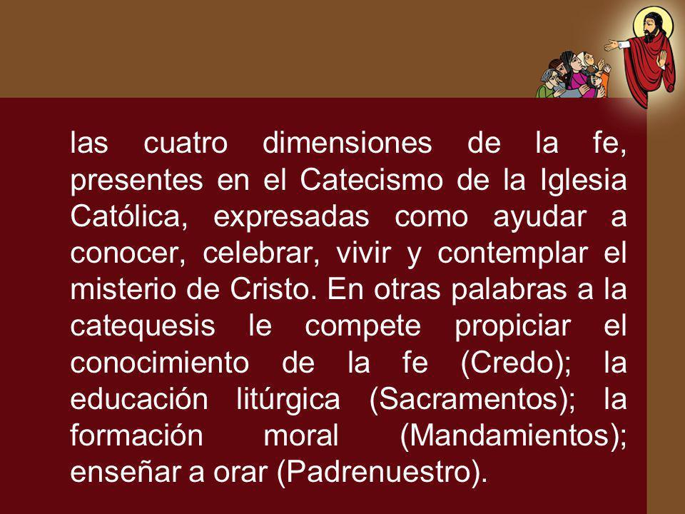 las cuatro dimensiones de la fe, presentes en el Catecismo de la Iglesia Católica, expresadas como ayudar a conocer, celebrar, vivir y contemplar el m