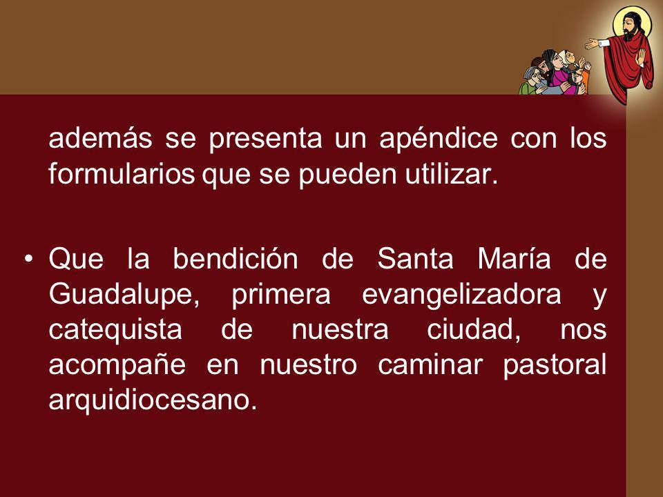 además se presenta un apéndice con los formularios que se pueden utilizar. Que la bendición de Santa María de Guadalupe, primera evangelizadora y cate