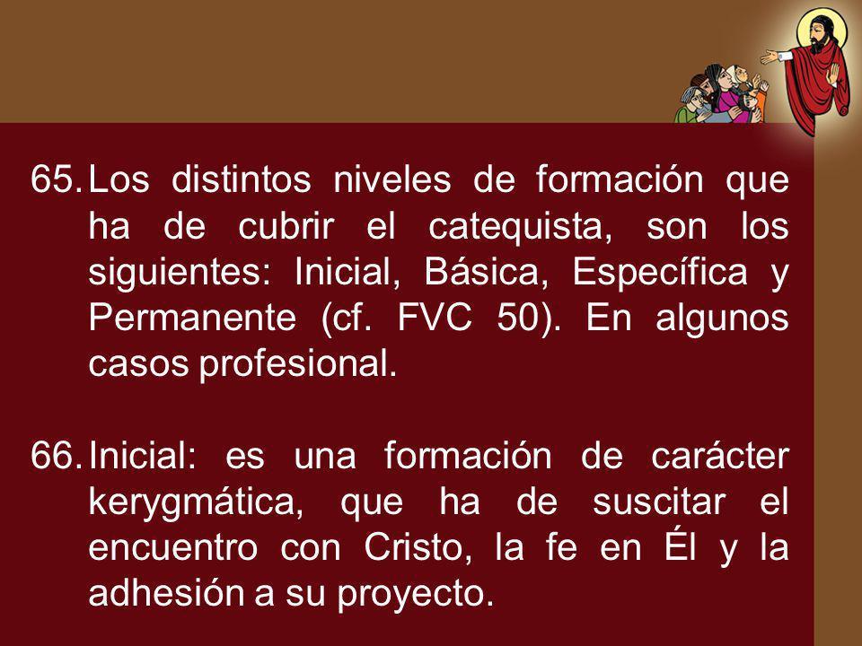 65.Los distintos niveles de formación que ha de cubrir el catequista, son los siguientes: Inicial, Básica, Específica y Permanente (cf. FVC 50). En al
