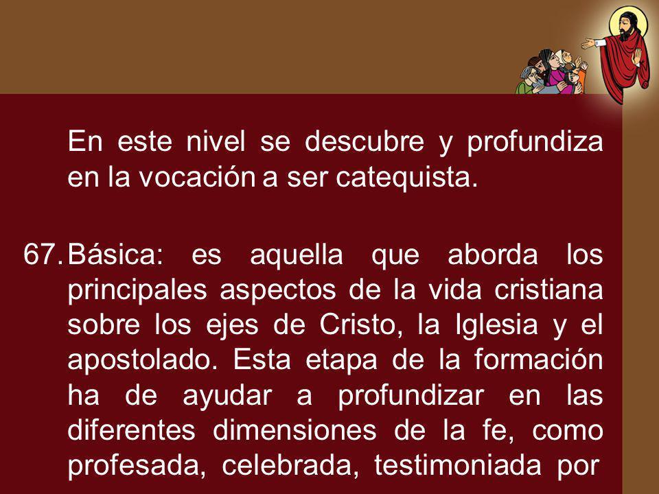 En este nivel se descubre y profundiza en la vocación a ser catequista. 67.Básica: es aquella que aborda los principales aspectos de la vida cristiana