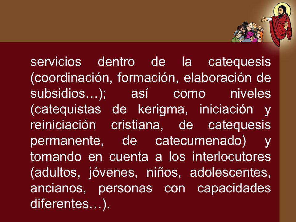 servicios dentro de la catequesis (coordinación, formación, elaboración de subsidios…); así como niveles (catequistas de kerigma, iniciación y reinici