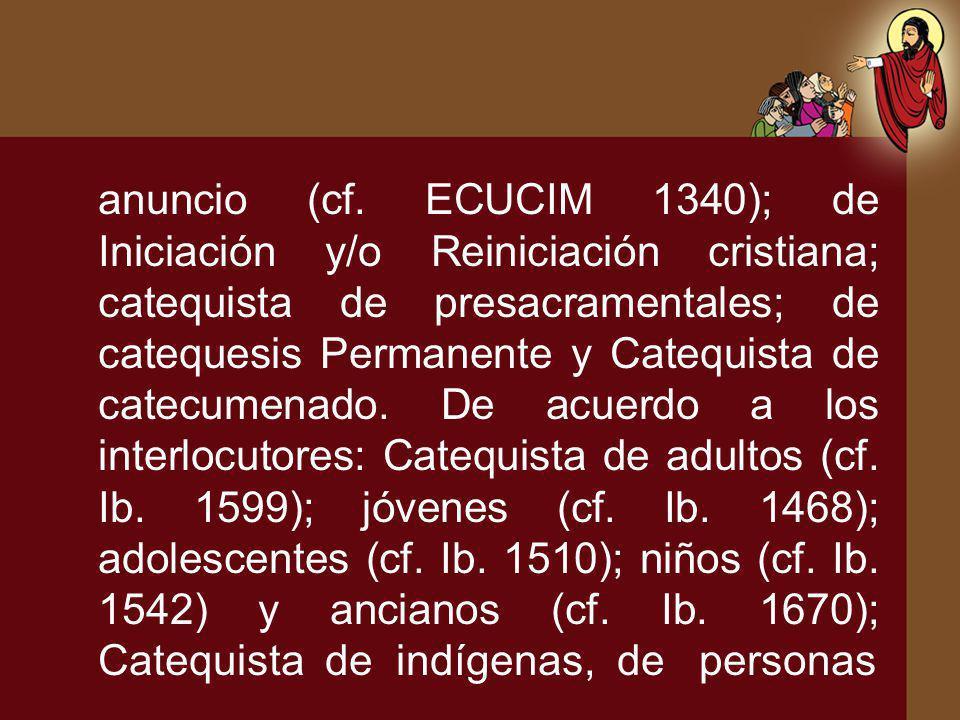 anuncio (cf. ECUCIM 1340); de Iniciación y/o Reiniciación cristiana; catequista de presacramentales; de catequesis Permanente y Catequista de catecume