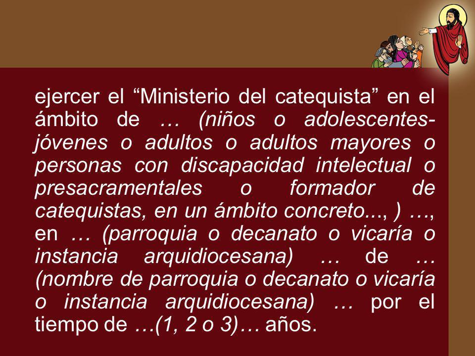 ejercer el Ministerio del catequista en el ámbito de … (niños o adolescentes- jóvenes o adultos o adultos mayores o personas con discapacidad intelect