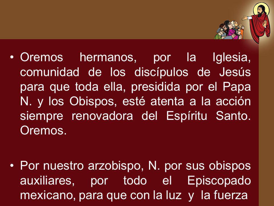 Oremos hermanos, por la Iglesia, comunidad de los discípulos de Jesús para que toda ella, presidida por el Papa N. y los Obispos, esté atenta a la acc
